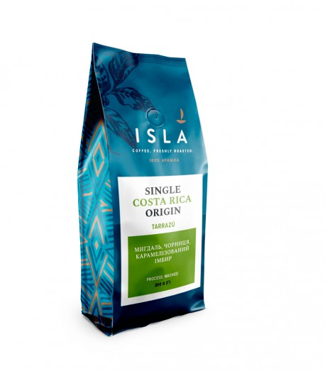 Кава ISLA в зернах, моносорт Коста-Ріка Tarrazu, washed, 200 г