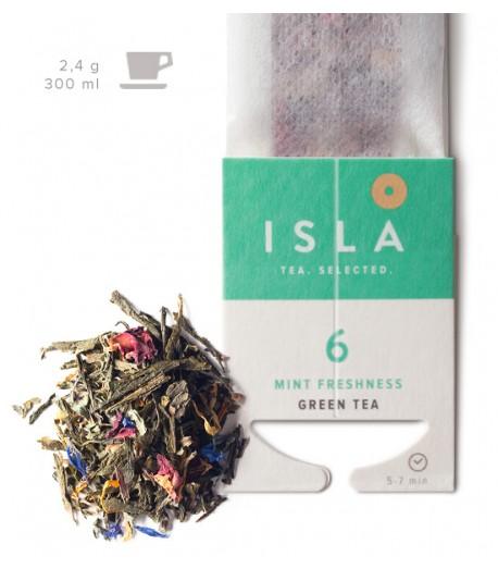 №6 Чай Isla зелений з м'ятою в фільтр-пакеті на чашку, 2,4 г х 10 шт.